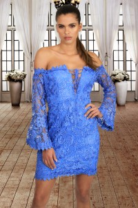 Blue Crochet Overlay Off The Shoulder Fitted Mini Dress