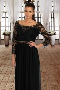 Black Lace Crochet Quarter Sleeve Maxi Dress