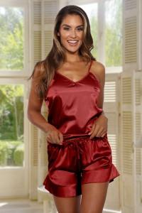 Pyjashort satiné rouge
