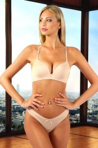 Ensemble lingerie soutien-gorge effet top et culotte, chair