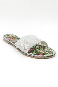 Sandale à strass multicolore