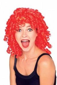 Perruque frisée rouge