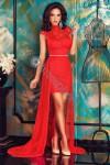 Robe dentelle asymétrique rouge