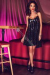 Robe sequins noirs et or