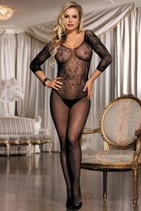 Combinaison sexy bodystocking en résille à motifs, noir