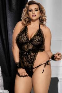 Body teddy string grande taille avec poignets, noir