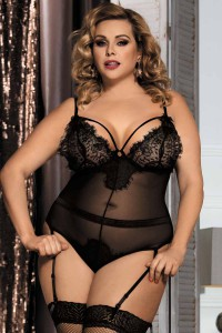 Body teddy string grande taille et porte-jarretelles en voile, noir