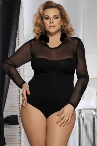 Body culotte grande taille en voile mélangé, noir