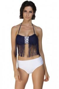 Navy Tassel Bikini White Bottom Bathing Suit