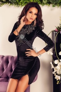 Robe noire velours et dentelle