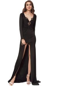 Robe longue de soirée avec fente, noir