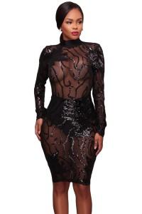 Robe en voile transparente avec motifs fantaisie en sequins, noir