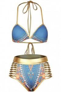 Maillot de bain taille haute bleu africain avec des découpes métalliques