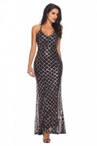 Black Gold Sequins Crisscross Maxi Evening Dress