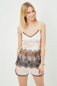 Pyjama satiné Rose pâle et noir