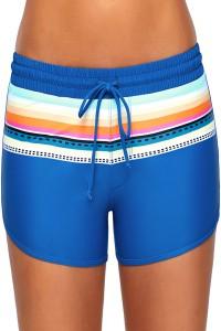 Striped Print Accent Light Blue Drawstring Board Shorts