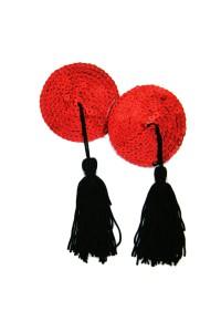 Cache tétons rouges avec pompons noirs
