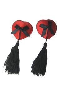 Cache tétons en forme de coeur rouge avec noeud noir