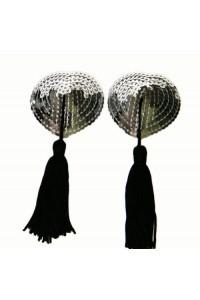 Cache tétons en forme de coeur sequins argentés