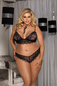 Ensemble lingerie noir bralette et culotte grandes tailles