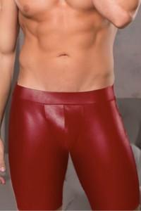 Short ouvert pour homme effet cuir rouge