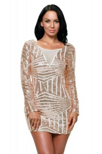 Robe sequins rose nude