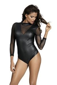 Body effet vinyle noir manches longues