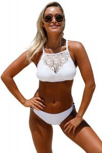 Maillot de bain bikini à encolure en dentelle blanc