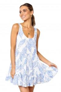 Robe d'été blanche et bleu imprimé plume