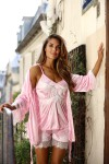 Ensemble pyjashort et déshabillé rose