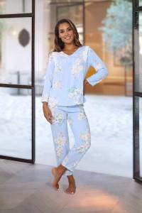 Pyjamas bleu motifs macarons