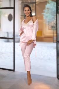 Pyjama 3 pièces satiné rose