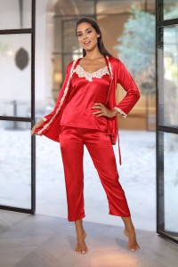 Pyjama 3 pièces satiné rouge