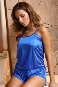 Pyjashort caraco bleu satiné