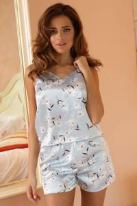 Pyjashort caraco bleu ciel imprimé
