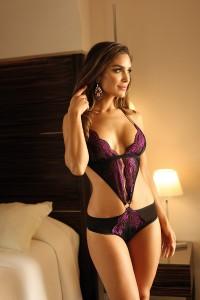 Body culotte dentelle violet