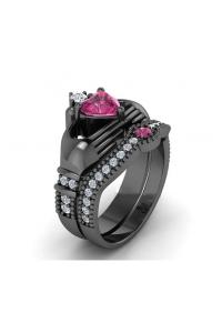 Bague de Luxe Coeur noir et rose