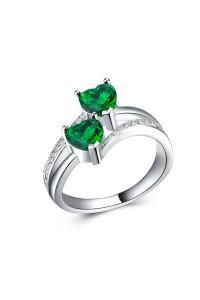 Bague coeur double anneaux vert