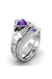 Bague de Luxe Coeur violette
