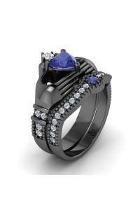 Bague de Luxe Coeur noir et bleu