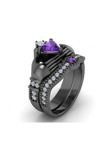 Bague de Luxe Coeur noir et violette