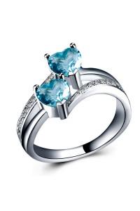 Bague coeur double anneaux bleu