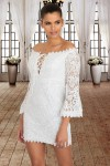 White Crochet Overlay Off The Shoulder Fitted Mini Dress