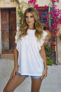 Top Manches Evasées Blanches