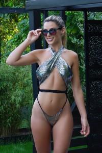Bikini Croisé effet serpent Argent