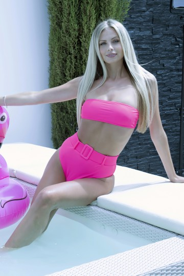 Bikini bandeau Fluo rose