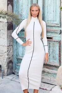 Robe longue ajustée blanche