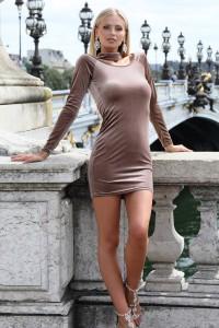 Robe mini en velour marron