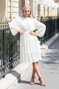 Robe midi plissée blanc