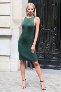 Robe en maille métallisée verte